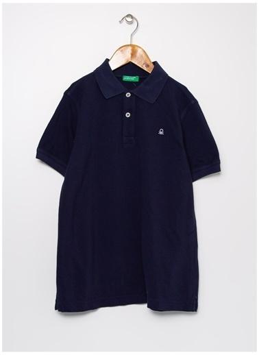 Benetton Benetton Logolu Lacivert Erkek Çocuk Polo T-Shirt Lacivert